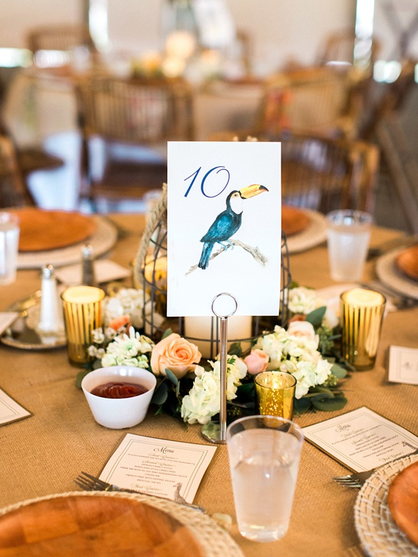 Rustic tropical toucan table number