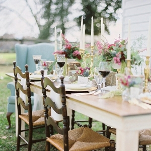 Rustic vintage wedding reception table