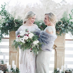 winter bride and bridesmaid ceremony altar