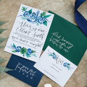 Calligraphy wedding invitations of navy blue and emerald