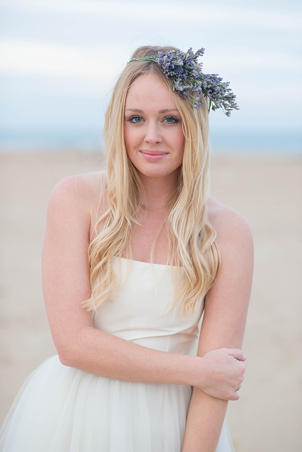 Flower crown on beach bride