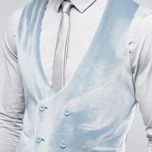 Pastel Blue Velvet Double Breasted Vest