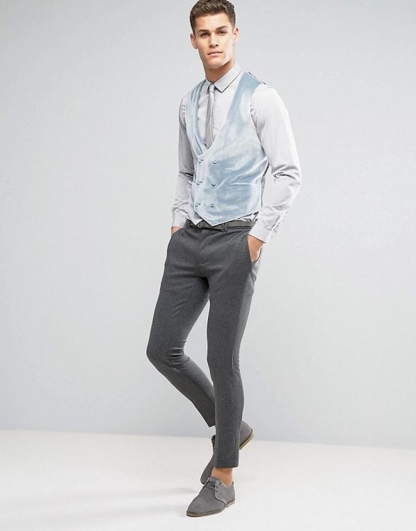Pastel Blue Velvet Waistcoat Vest