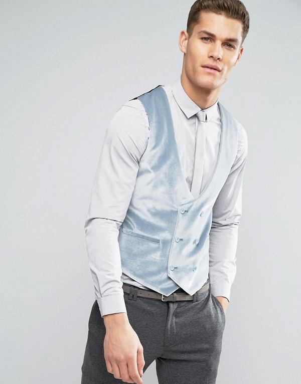 Handsome Pastel Blue Velvet Groom's Vest