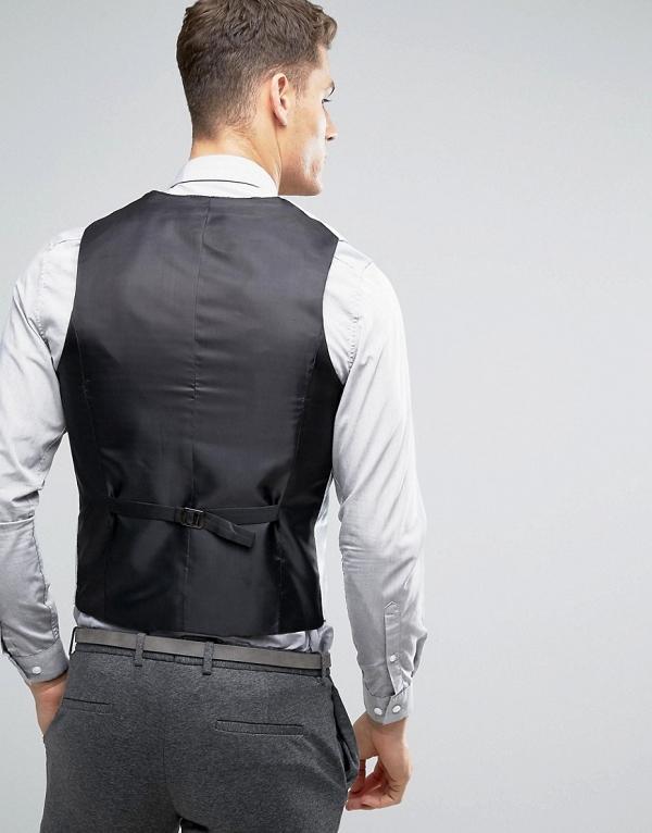Gray Back Pale Blue Velvet Vest