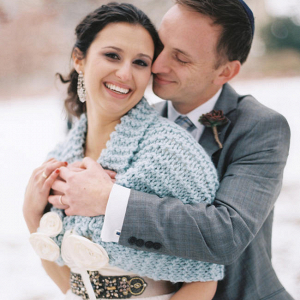 Knitted Blue Bridal Shawl