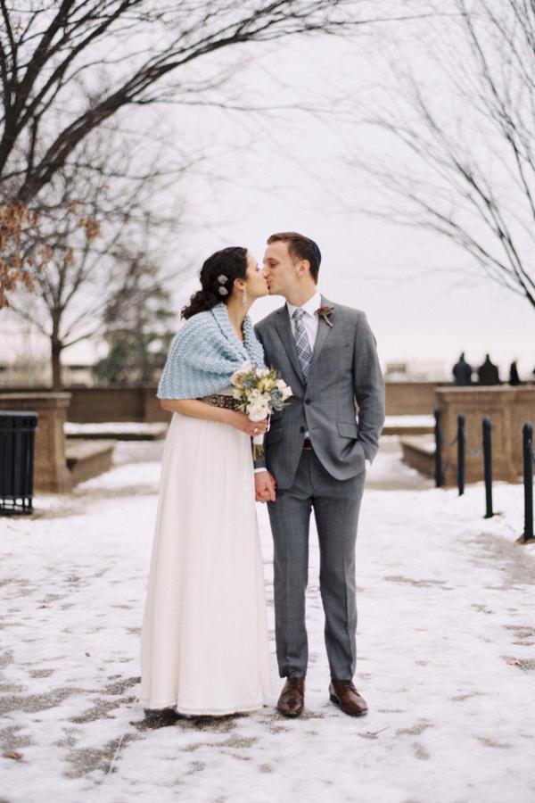 Knitted Blue Bridal Shawl