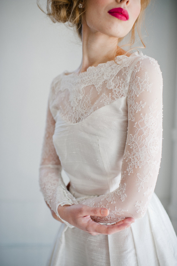 'Sophia' Long Lace Sleeves Wedding Dress