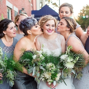 Bridesmaid in grey dresses