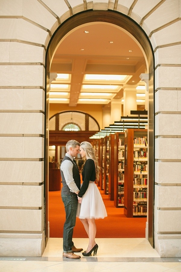 Chic Virginia engagement session at Norfolk library