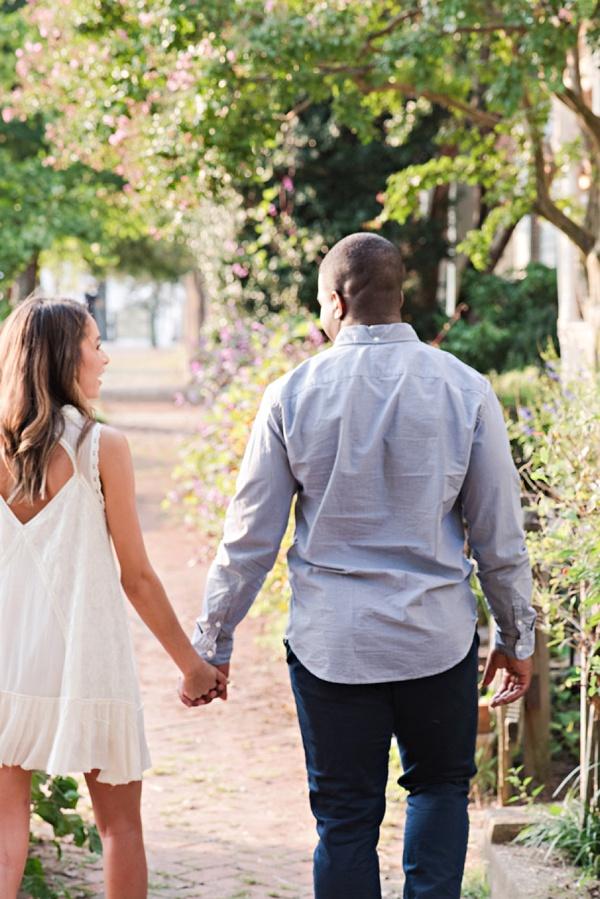 Romantic walk through historic city