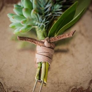 Succulent Boutonniere Tie