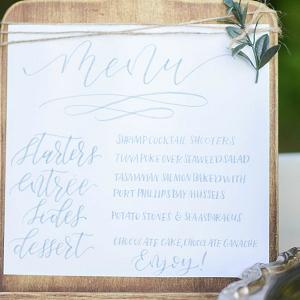 Handlettered menu