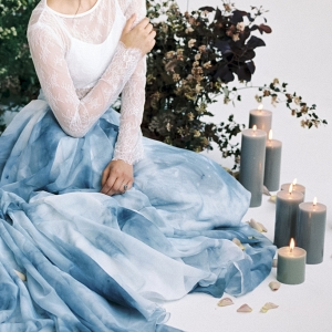 Blue Watercolor Painted Bridal Skirt