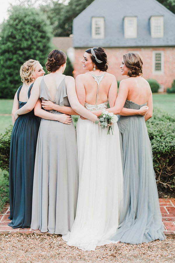 Dusty blue and dark blue bridesmaid dresses