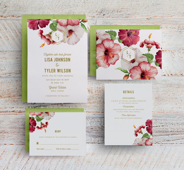 Modern tropical wedding invite