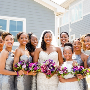 Tropical Glam Bride and Her Bridesmaids