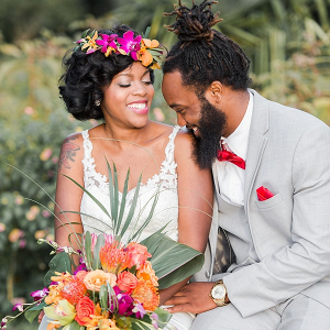 Tropical bride and groom