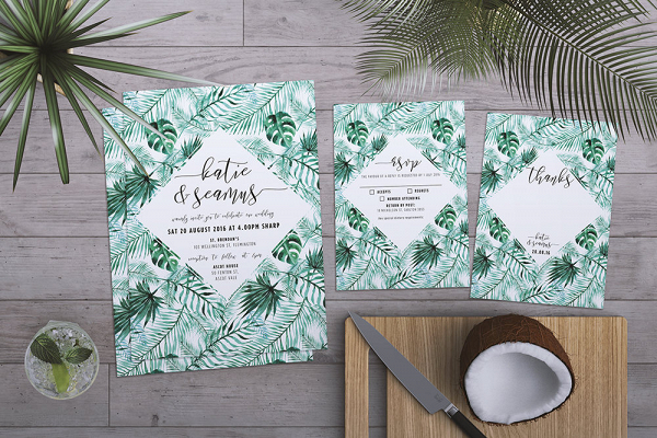 Tropical Palm Wedding Invitation Suite