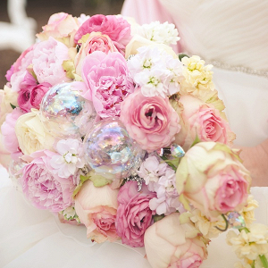 Pink Wedding Bouquet with Iridescent Glass Bubbles