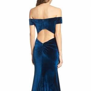 Blue Teal Velvet Dress Back