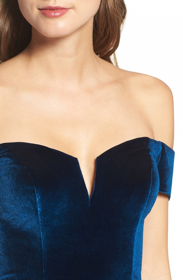 Blue Velvet Mother of the Bride Dress