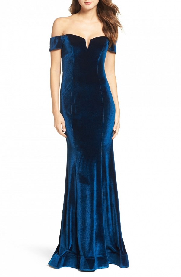 Navy Blue Teal Velvet Dress
