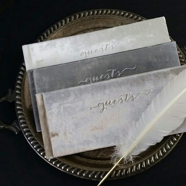 Neutral Velvet Wedding Guest Books