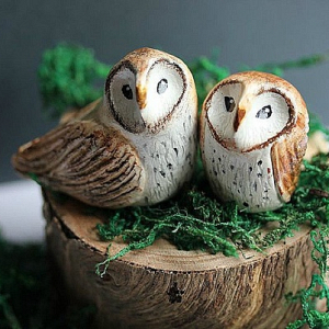 Painted owl cake toppers