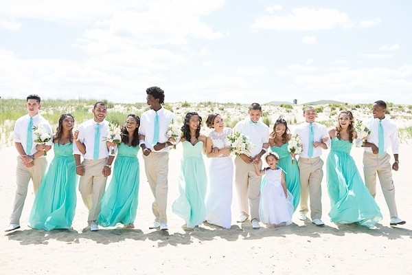 Handmade mint green beach wedding aisle society for Green beach wedding dresses