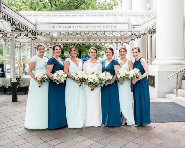 Mint and blue bridesmaids