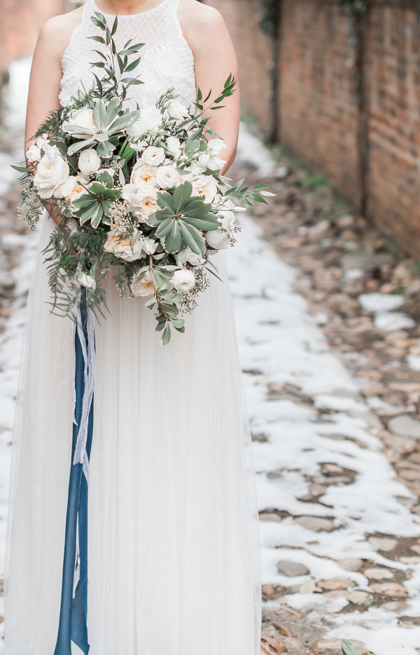 wild bridal bouquet winter wedding