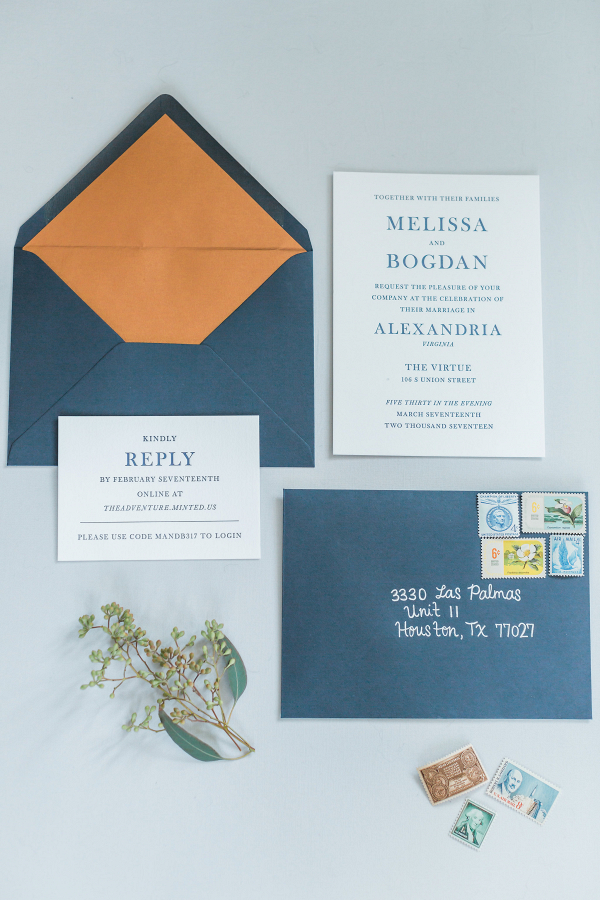 blue and copper winter wedding