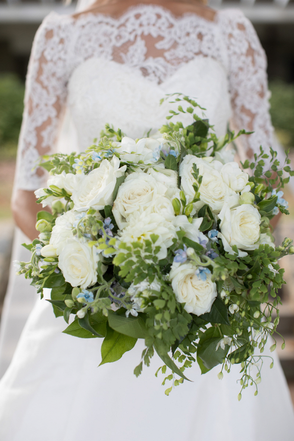 all white and green bouquet
