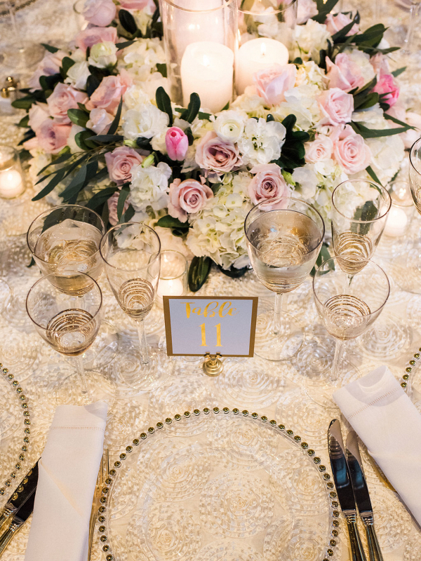 Gold Beaded Chargers on Textured White Linens