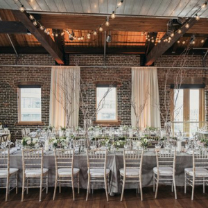 Modern white and green reception