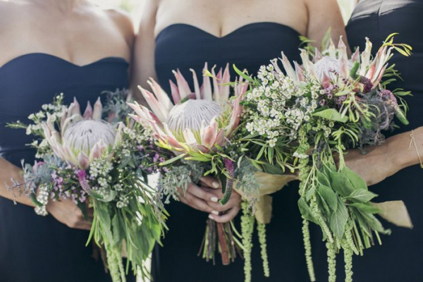 Protea bridesmaid bouquets