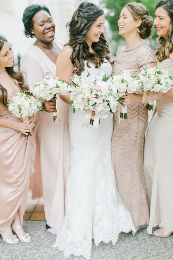 Champagne mismatched bridesmaid dresses