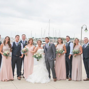 Blush and gray bridal party