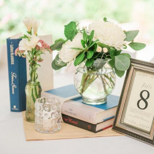 Literature themed centerpiece