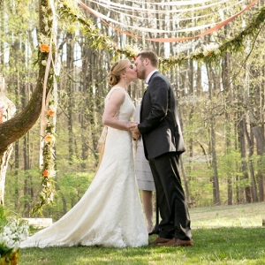 Hanging Greenery Ceremony Altar Outdoor Wedding
