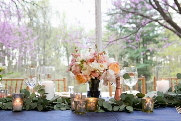 Peach Bouquet Centerpiece with Cobalt Blue Linens and Copper Accents