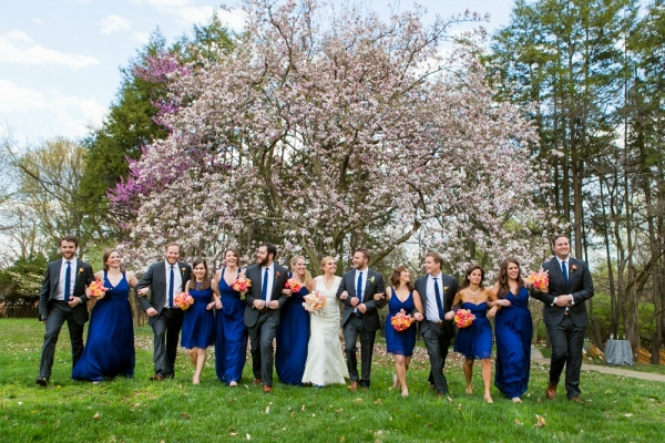 Short Cobalt Blue Bridesmaids Dresses with Textured Peach Bridesmaids Bouquets