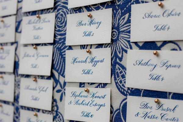 blue fabric covered escort card board