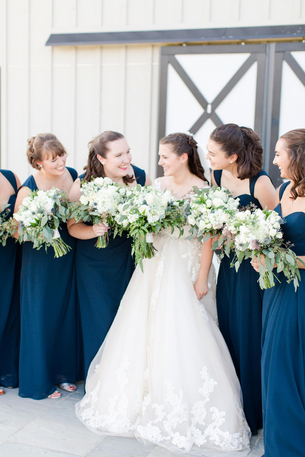 navy and white bridal party attire