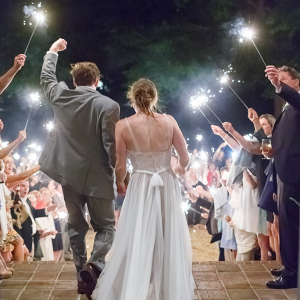 Virginia Wedding Ceremony Exit with Sparklers