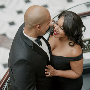 Full Length Gown and Black Tux Engagement Shoot