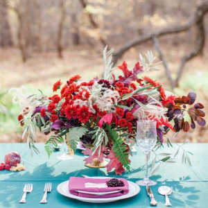 Lush red centerpiece
