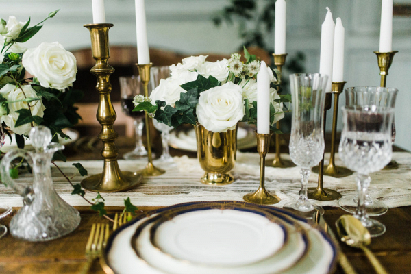 gold and white weding reception table