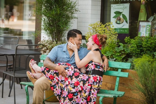 Pin up girl engagement session attire from Fairfax Virginia Engagement